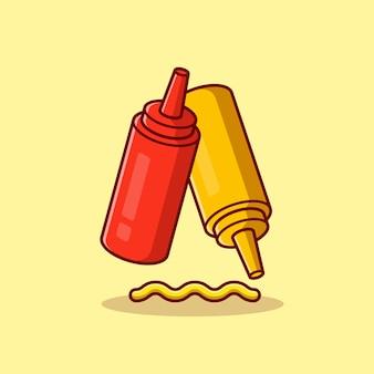 Ketchup en mosterd cartoon pictogram illustratie.