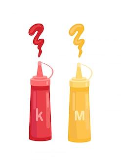 Ketchup en mosterd in pictogram van het flessen het vectorbeeldverhaal