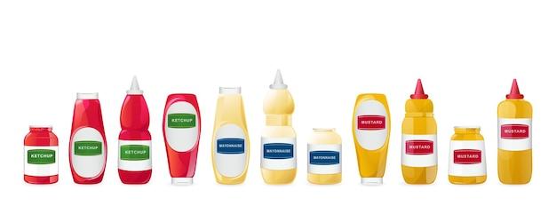 Ketchup mayonaise mosterd sauzen in flessen instellen realistische afbeelding geïsoleerd op een witte achtergrond