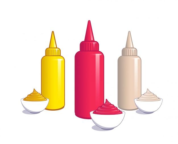 Ketchup, mosterd en mayonaise.
