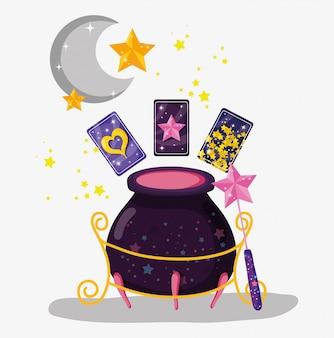 Ketel met kaarten en toverstaf met sterren