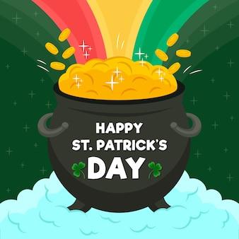 Ketel met munten en regenboog st. patrick's dag