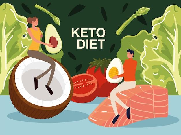 Keto dieet mensen groenten vis ei