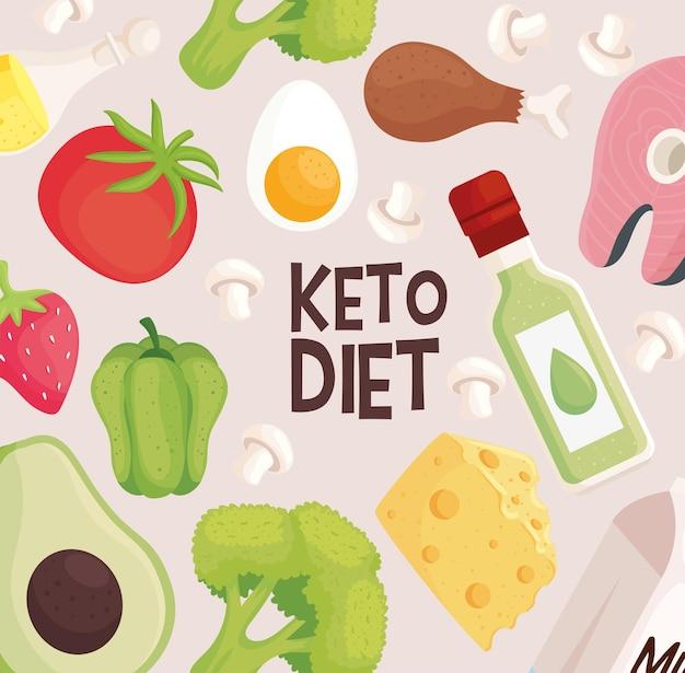 Keto dieet voedsel patroon pictogrammen
