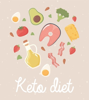 Keto-dieetillustratie met ingrediënten