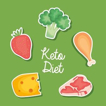 Keto-dieetontwerp met voedsel