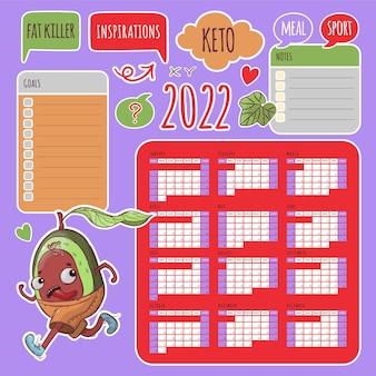 Keto stickers kalender 2022 jaar afdrukbare en plotter snijsjabloon business organizer schedule