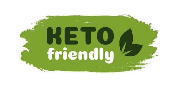 Keto vriendelijke dieet voeding badge op groene organische textuur geïsoleerd op whiteketogenic dieet teken