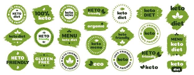 Keto-vriendelijke dieetvoedingsbadge ingesteld op groen biologisch ketogeen