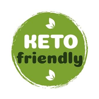 Keto vriendelijke teken dieet voeding badge op groene organische textuur geïsoleerd op whiteketogenic diet
