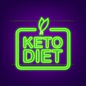 Ketogeen dieet logo teken. keto-dieet. neon icoon. vector illustratie.