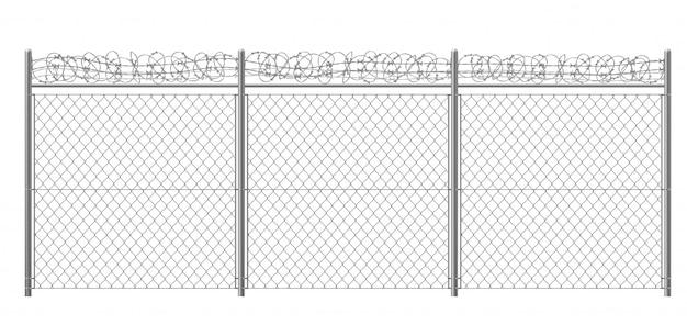 Ketting-link, rabitz hek fragment met metalen pijlers en prikkeldraad of scheermes draad 3d realistische vectorillustratie geïsoleerd. beveiligd gebied, beschermd gebied of gevangenisafrastering