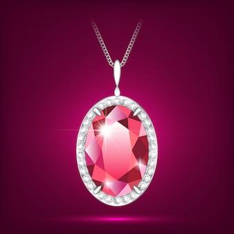 Ketting met hanger met een rode robijn. witgouden frame met diamanten. sieraden voor vrouwen.
