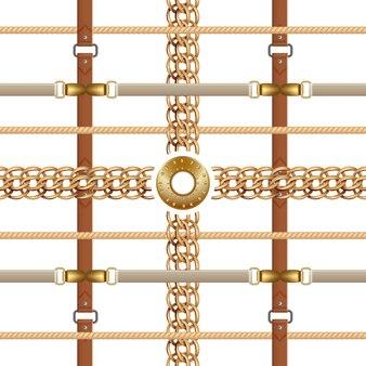 Kettingen en riemen naadloos patroon. barok ornament met vlechten en gouden meubels.