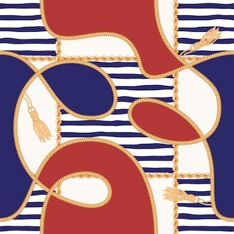 Kettingen, kwastjes en touwen marine naadloze patroon voor zomer weefsel ontwerp.