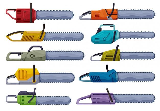 Kettingzaag van ketting vector cartoon ingesteld pictogram.
