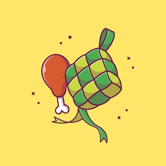 Ketupat met gebakken kip pictogram illustratie. ramadan food icon concept geïsoleerd. flat cartoon stijl