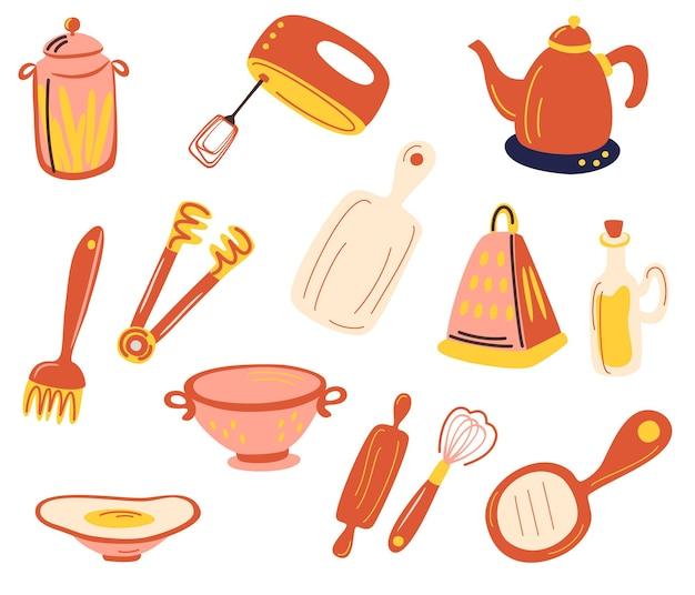Keuken accessoires set. keukengerei en keukengerei. handmixer, rasp, garde, snijplank, blikjes, vergiet, waterkoker. voor moderne receptenkaartsjabloon voor kookboek. platte vectorillustratie.