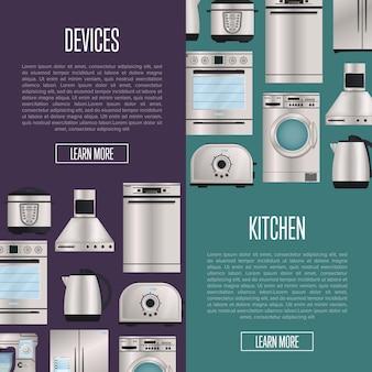 Keuken automatische huishoudelijke apparaten banners