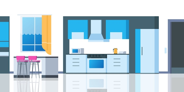Keuken cartoon interieur. huiskamer met tafel koelkast keukengerei cartoonische oven eetkamer appartement. aanrecht illustratie