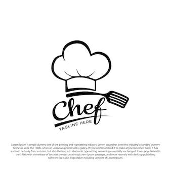 Keuken chef design logo sjabloon chef hoed en spatel vectorillustratie