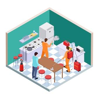 Keuken desinfectie. isometrische ongediertebestrijding. vector desinfectie serviceteam