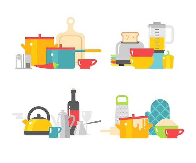 Keuken gerechten vector plat pictogrammen geïsoleerd op een witte achtergrond