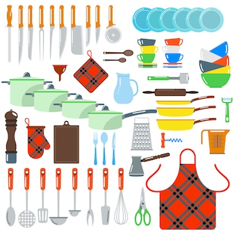 Keuken gerechten vector platte geïsoleerde elementen