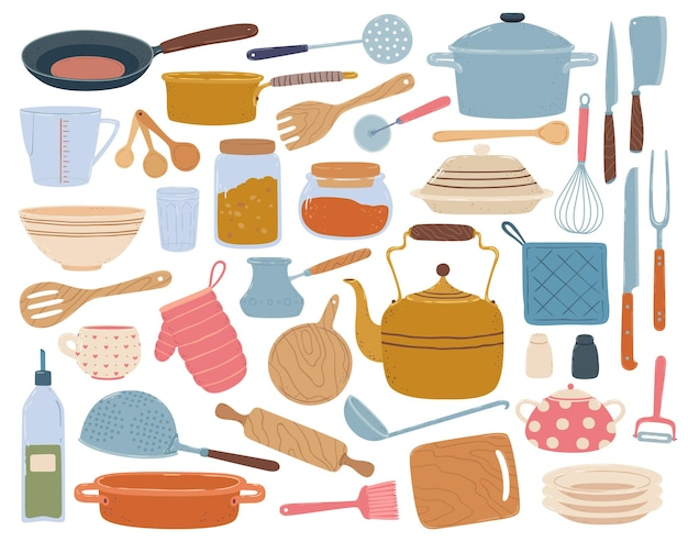 Keuken gereedschap spatel lepel pan mes kom gerechten platte cartoon keukengerei kookgerei set