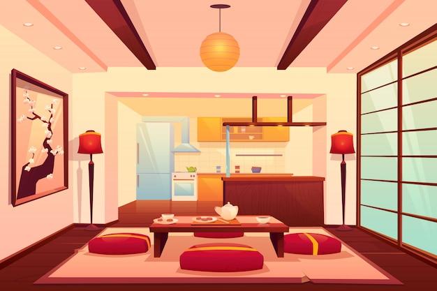 Keuken in aziatische stijl, chinese, japanse kamer