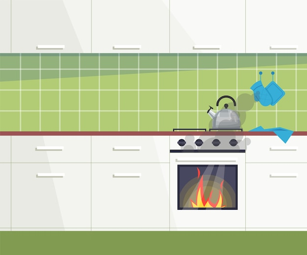 Keuken in brand semi vlakke afbeelding