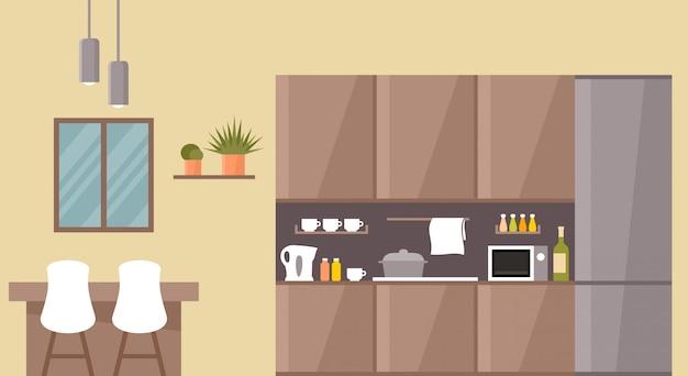 Keuken interieur. eettafel.