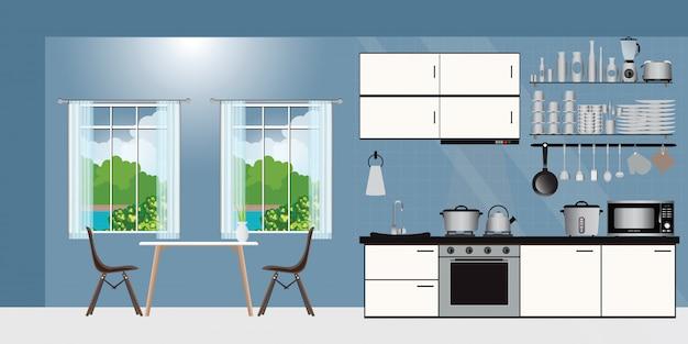 Keuken interieur met meubilair.