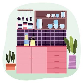 Keuken interieur tegel muur rasp voedsel servies gebruiksvoorwerpen en potplanten