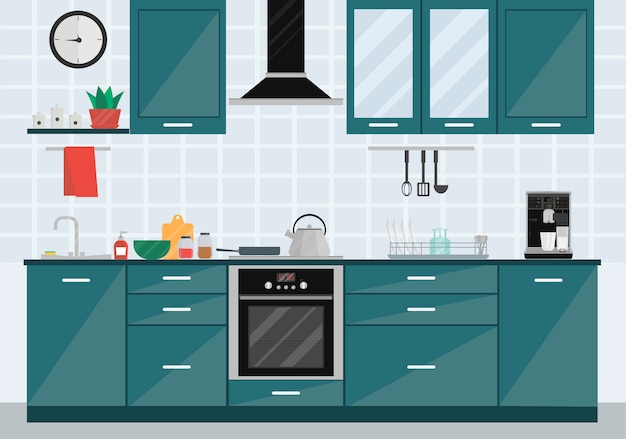 Keuken kamer interieur met inbouwapparatuur, spoelbak, waterkoker, fornuis, servies, afzuigkap en meubels.