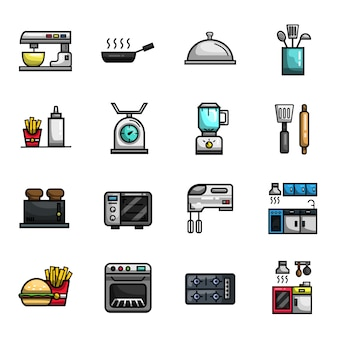 Keuken koken bakkerij restaurant elementen volledige kleur icon set