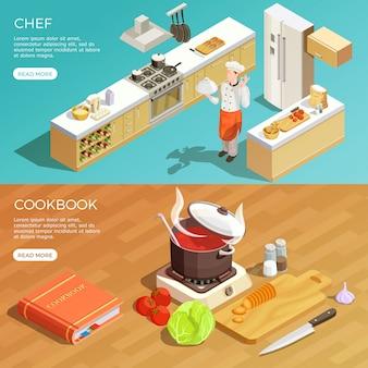 Keuken kookboek banners set