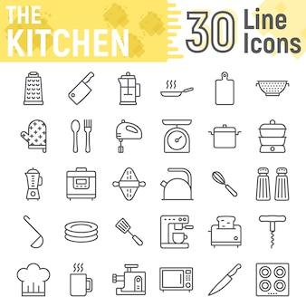 Keuken lijn icon set, huishoudelijke borden collectie