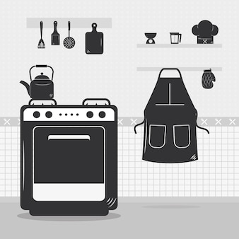 Keuken met fornuis en keukengerei rondom