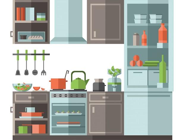 Keuken met meubilair, kookgerei en toestellen. vlakke stijl vectorillustratie.