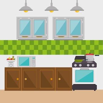 Keuken moderne scène-elementen