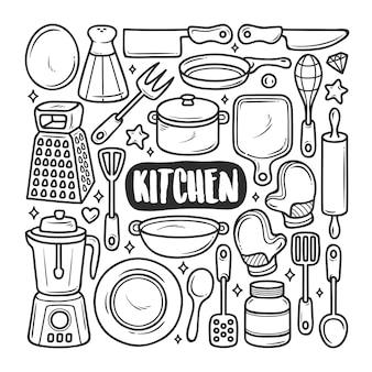 Keuken pictogrammen hand getrokken doodle kleuren