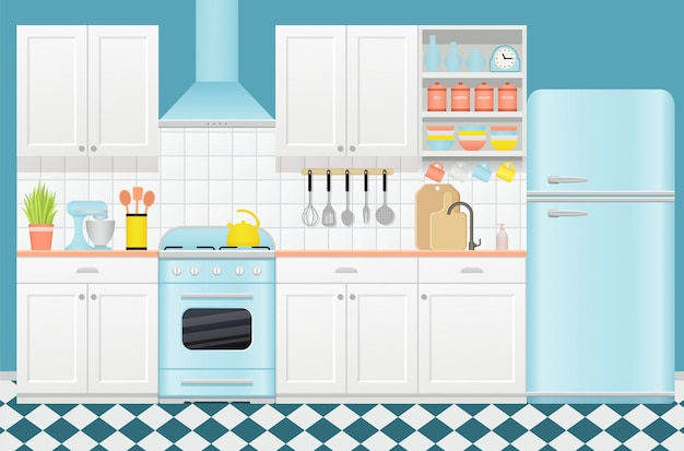 Keuken retro interieur. illustratie in flat.