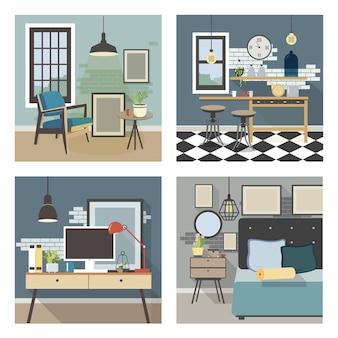 Keuken, slaapkamer, woonkamer, werkplek in loftstijl. kleurrijke vlakke afbeelding