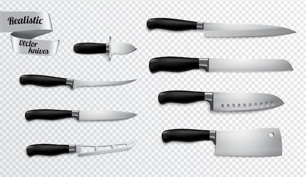 Keuken slagersmessen instellen close-up realistisch beeld met uitbenen slicer carver chef-kok hakmes uitknippad
