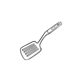 Keuken spatel hand getrokken schets doodle pictogram. spatel - keukengerei schets vectorillustratie voor print, web, mobiel en infographics geïsoleerd op een witte achtergrond.