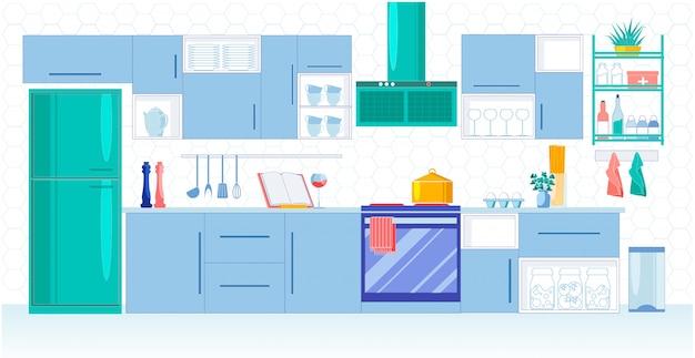 Keuken voor grote familie in blauwe tinten, vector.