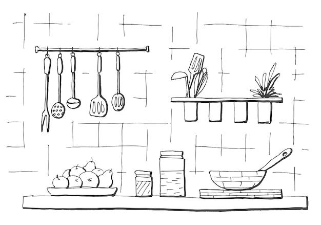 Keuken werkblad. tafelblad in de keuken. illustratie in schetsstijl.