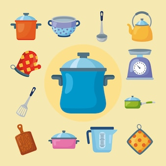 Keukenbenodigdheden en elementen clipart set