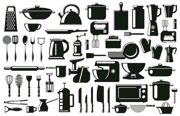 Keukenbestek, gebruiksvoorwerp en kookgereedschap silhouetelementen. servies, zwart-wit culinaire tools vector symbolen set. keukengerei koken silhouetten